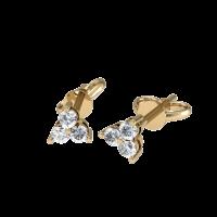 Серьги пусеты из красного золота с бриллиантами