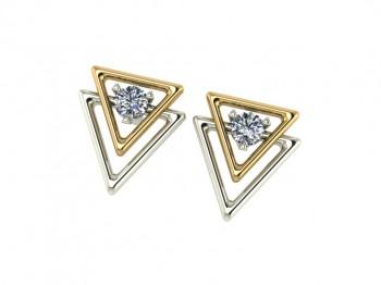 Серьги пусеты комбинированное золото с бриллиантами