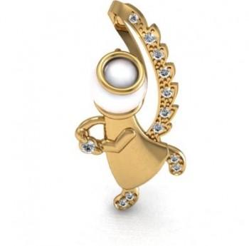 Подвес из красного золота с бриллиантами и жемчугом
