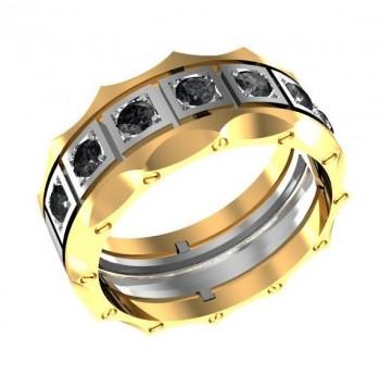 Кольцо из красного и белого золота с черными бриллиантами