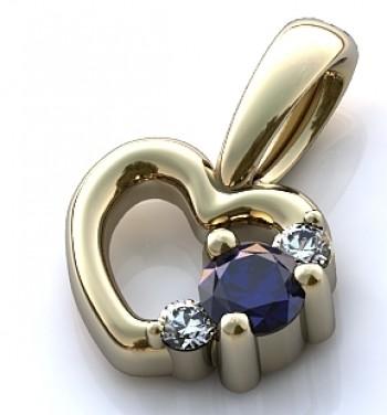 """Подвес из белого золота """"Сердце"""" с бриллиантами и сапфиром"""