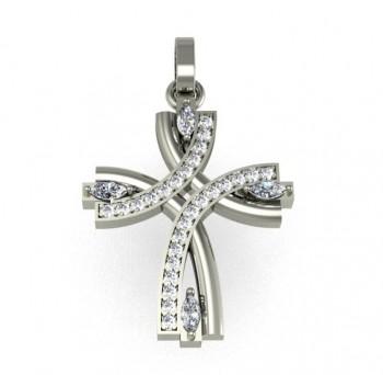 "Подвес ""Крест"" из белого золота с бриллиантами"