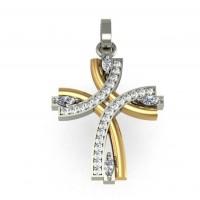 """Подвес """"Крест"""" из белого и красного золота с бриллиантами"""