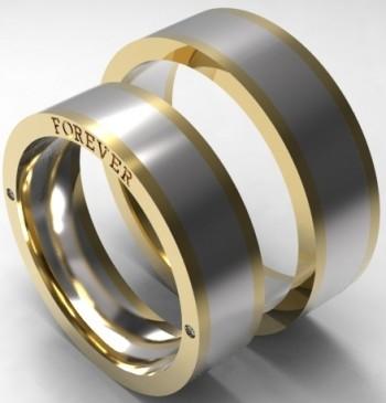Пара обручальных колец из красного и белого золота с бриллиантами