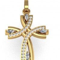 "Подвес ""Крест"" из красного золота с бриллиантами"