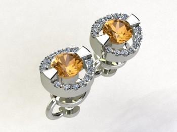 Серьги пусеты из белого золота с бриллиантами и сапфирами