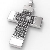"""Подвес """"Крест"""" из белого золота с черными и белыми бриллиантами"""
