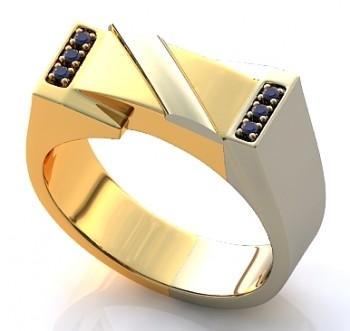 Мужское кольцо из красного и белого золота с сапфирами