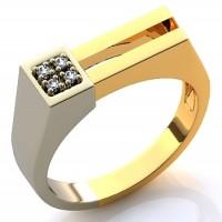 Мужское кольцо из красного и белого золота с бриллиантами