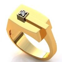 Кольцо из красного и белого золота с бриллиантом