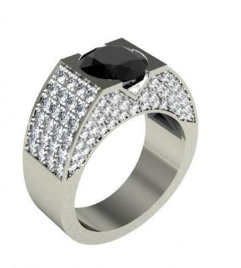 Мужское кольцо из белого золота с черным и белыми бриллиантами