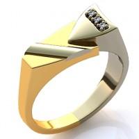 Кольцо из белого и красного золота с бриллиантами