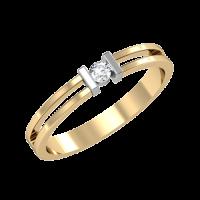 Кольцо из белого и желтого золота с бриллиантом