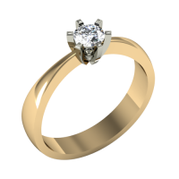 Помолвочное кольцо из белого и желтого золота с бриллиантом