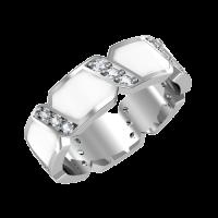 Кольцо из белого золота с бриллиантами и эмалью