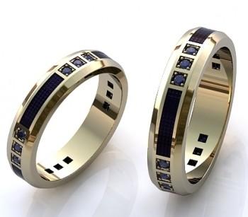 Пара обручальных колец из белого золота с сапфирами и эмалью