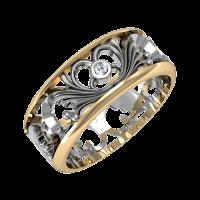 Кольцо из красного и белого золота с бриллиантами