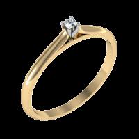 Помолвочное кольцо из красного и белого золота с бриллиантом
