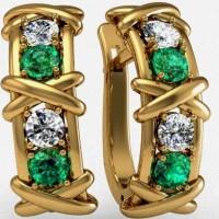 Серьги с бриллиантами и изумрудами