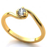 Помолвочное кольцо из красного золота с бриллиантом