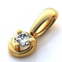 Подвес красного золота с бриллиантом
