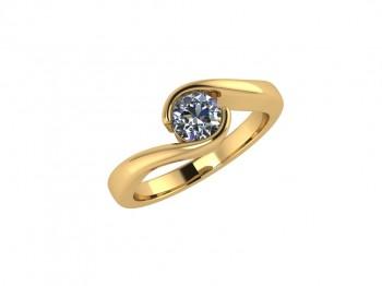 Кольцо в белом и красном золоте с бриллиантом