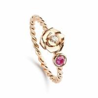 Кольцо из красного золота с бриллиантом и аметистом