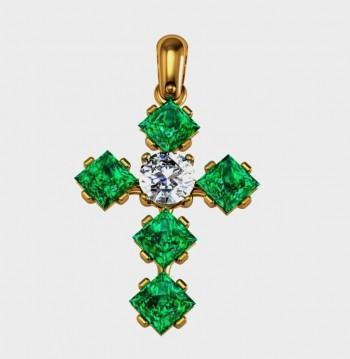 Крест из красного золота с изумрудами и бриллиантом