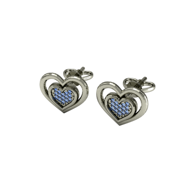 Серьги из белого золота с голубыми бриллиантами