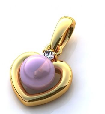"""Подвес из красного золота  """"Сердце"""" с жемчугом и бриллиантом"""