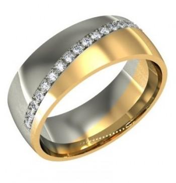 Обручальное кольцо из красного и белого золота с бриллиантами