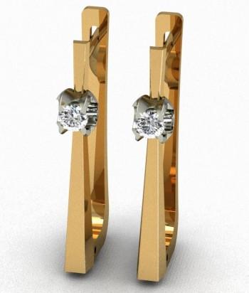 Серьги из красного и белого золота с бриллиантами