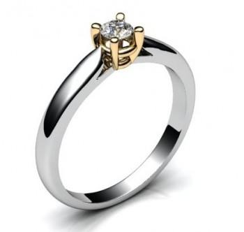 Помолвочное кольцо из белого и красного золота с бриллиантом