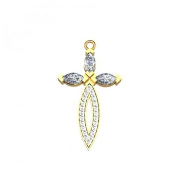 """Подвес """"Крест"""" из белого и желтого золота с бриллиантами"""
