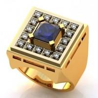 Кольцо из красного золота с сапфиром и бриллиантами