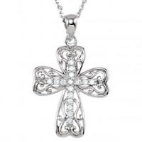 Крест-подвес из белого золота с бриллиантами