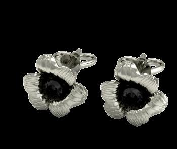 Серьги пусеты из белого золота с черными бриллиантами