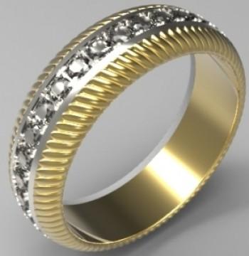 Обручальное кольцо из белого и желтого золота с бриллиантами
