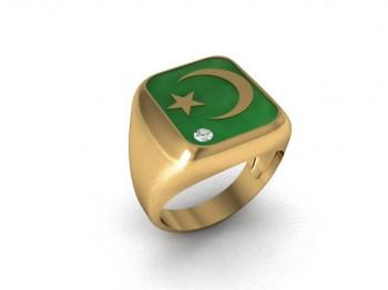 Кольцо из красного золота с бриллиантом и ювелирной эмалью