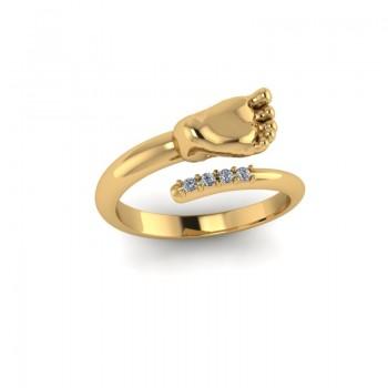 """Кольцо из красного золота с бриллиантами """"Ножка"""""""