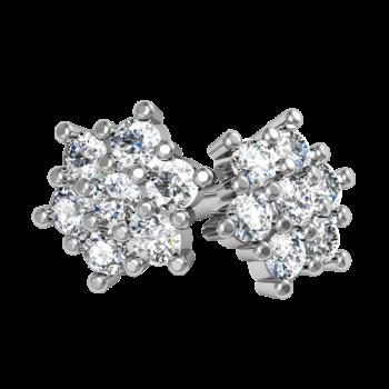 Серьги пусеты из белого золота с бриллиантами
