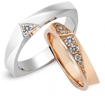 Обручальные кольца из красного и белого золота с бриллиантами