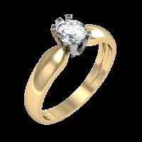 Кольцо из белого и красного золота с бриллиантом