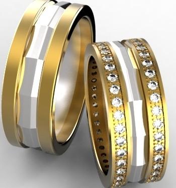 Обручальные кольца из белого и желтого золота с бриллиантами