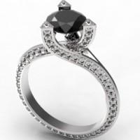 Кольцо из белого золота с черным и белыми бриллиантами